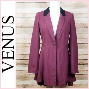VENUS Long Ruffle Back Blazer